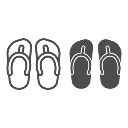 Flip flops line and solid icon, Summer concept, Beach slippers sign on white background, beach footwear icon in outline style for mobile concept and web design. Vector graphics. Illustration
