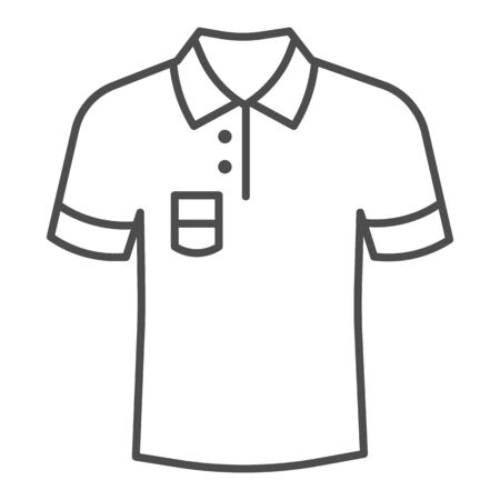 Polo thin line icon, Summer clothes concept, unisex shirt sign on white background, casual t-shirt icon in outline style for mobile concept and web design. Vector graphics.