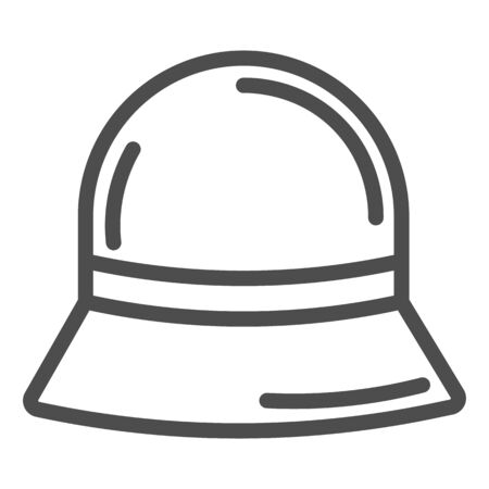 Panama hat line icon, Summer accessories concept, Summer children cap sign on white background, vintage hat accessory icon in outline style for mobile concept and web design. Vector graphics.