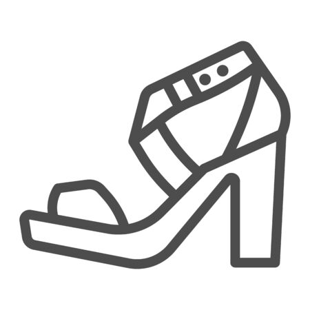 High heeled sandal line icon, Casual shoe concept, women shoes sign on white background, Woman high heel sandal icon in outline style for mobile concept and web design. Vector graphics.