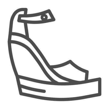 Platform shoes line icon, Summer concept, Women fashionable sandal on high platform sign on white background, Platform sandals icon in outline style for mobile, web design. Vector graphics. Illustration