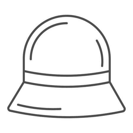Panama hat thin line icon, Summer accessories concept, Summer children cap sign on white background, vintage hat accessory icon in outline style for mobile concept and web design. Vector graphics.