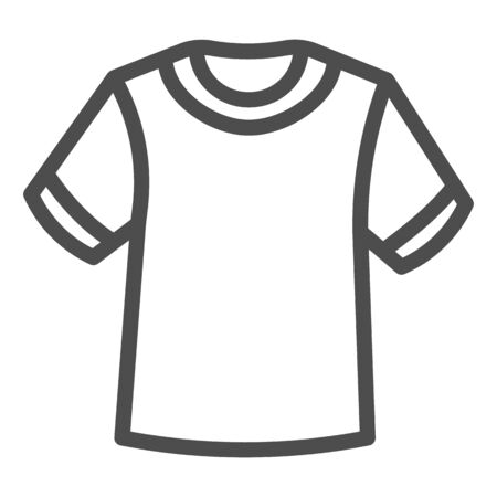 T-shirt line icon, Summer clothes concept, unisex shirt sign on white background, casual t-shirt icon in outline style for mobile concept and web design. Vector graphics.