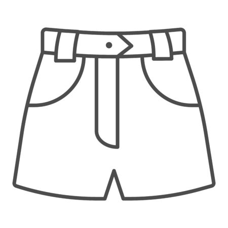 Denim shorts thin line icon, Summer clothes concept, shorts sign on white background, jeans female summer pants icon in outline style for mobile concept and web design. Vector graphics. Illustration