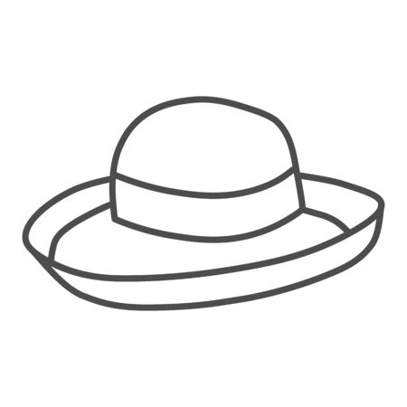 Summer hat thin line icon, Summer clothes concept, Girl beach sunhat sign on white background, Lady accessory icon in outline style for mobile concept and web design. Vector graphics.