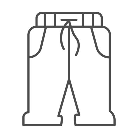 Short sweatpants thin line icon, sports clothes concept, sport shorts sign on white background, sweatpants icon in outline style for mobile concept and web design. Vector graphics.