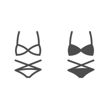 Women swimsuit line and solid icon, Summer clothes concept, swimwear sign on white background, Bikini icon in outline style for mobile concept and web design. Vector graphics. Illustration