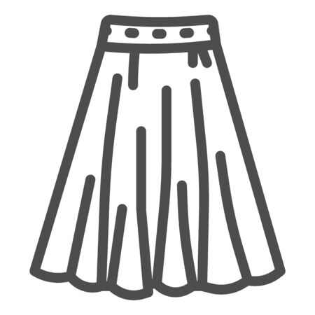 Skirt line icon, clothes concept, long elegant women skirt icon on white background in outline style for mobile concept and web design. Vector graphics.