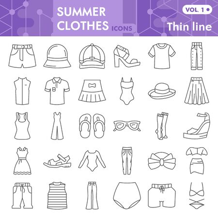 Summer clothes thin line icon set, beach sea clothing symbols collection or sketches. Summer clothes and accessories linear style signs for web and app. Vector graphics isolated on white background.