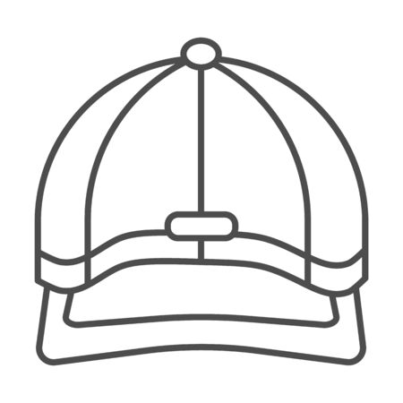 Baseball cap thin line icon, headwear concept, Baseball hat sign on white background, sport cap icon in outline style for mobile concept and web design. Vector graphics.