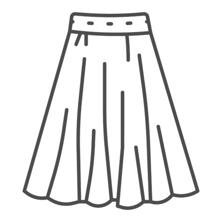 Skirt thin line icon, clothes concept, long elegant women skirt icon on white background in outline style for mobile concept and web design. Vector graphics.