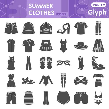 Summer clothes solid icon set, beach sea clothing symbols collection or sketches. Summer clothes and accessories glyph style signs for web and app. Vector graphics isolated on white background. Illustration