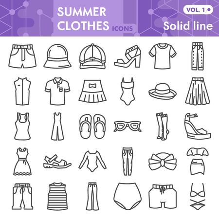 Summer clothes line icon set, beach sea clothing symbols collection or sketches. Summer clothes and accessories linear style signs for web and app. Vector graphics isolated on white background.