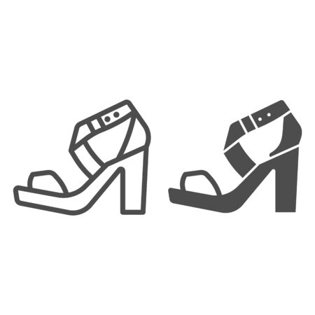 High heeled sandal line and solid icon, Casual shoe concept, women shoes sign on white background, Woman high heel sandal icon in outline style for mobile concept and web design. Vector graphics.