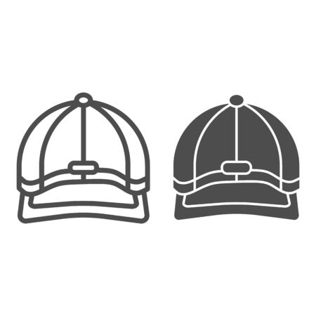 Baseball cap line and solid icon, headwear concept, Baseball hat sign on white background, sport cap icon in outline style for mobile concept and web design. Vector graphics. Illustration