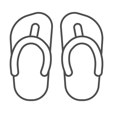 Flip flops thin line icon, Summer concept, Beach slippers sign on white background, beach footwear icon in outline style for mobile concept and web design. Vector graphics.