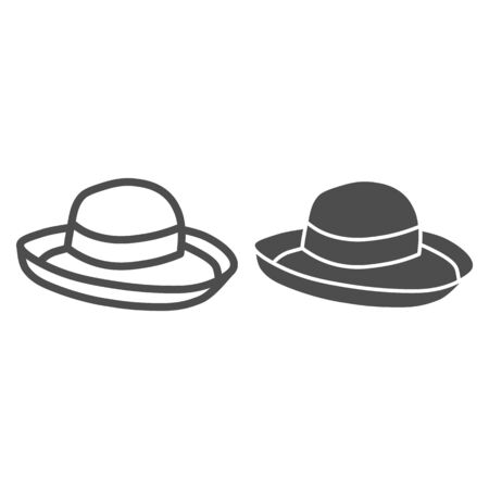 Summer hat line and solid icon, Summer clothes concept, Girl beach sunhat sign on white background, Lady accessory icon in outline style for mobile concept and web design. Vector graphics. Illustration