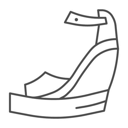 Platform shoes thin line icon, Summer concept, Women fashionable sandal on high platform sign on white background, Platform sandals icon in outline style for mobile, web design. Vector graphics. Illustration