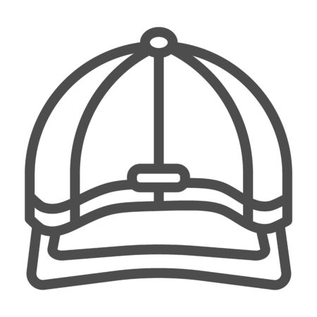 Baseball cap line icon, headwear concept, Baseball hat sign on white background, sport cap icon in outline style for mobile concept and web design. Vector graphics. Illustration