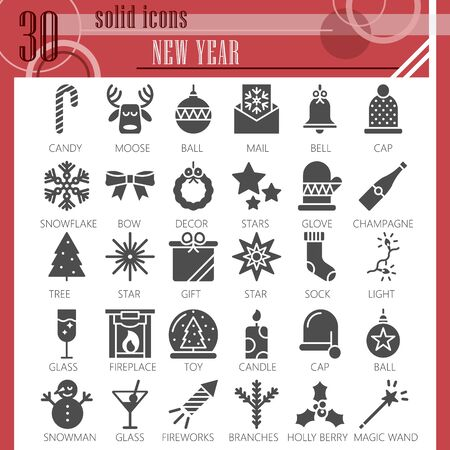 New Year solid icon set, Christmas symbols collection or sketches. Party and celebration glyph style signs for web and app. Vector graphics isolated on white background.
