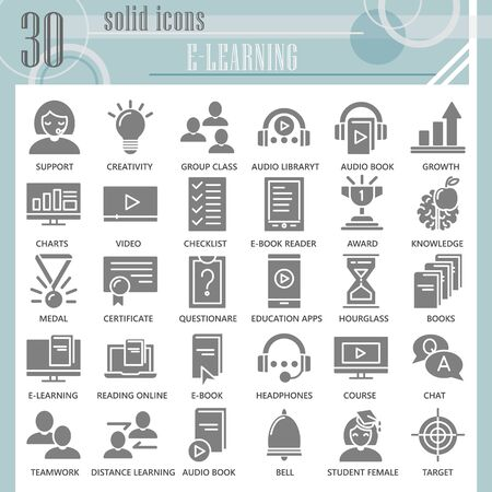 E-learning solid icon set, online studying symbols collection or sketches. Education technology glyph style signs for web and app. Vector graphics isolated on white background. 矢量图像