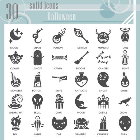Halloween solid icon set, Halloween party celebration symbols collection or sketches. Eve of All Saints Day glyph style signs for web and app. Vector graphics isolated on white background.
