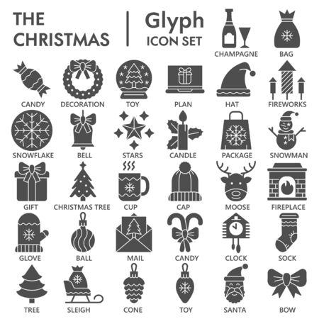 Merry Christmas solid icon set, xmas symbols collection or sketches. Happy New Year glyph style signs for web and app. Vector graphics isolated on white background.