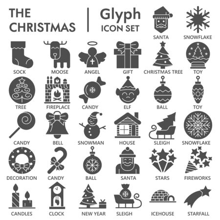 Christmas solid icon set, New Year symbols collection or sketches. Winter holidays glyph style signs for web and app. Vector graphics isolated on white background. Ilustrace