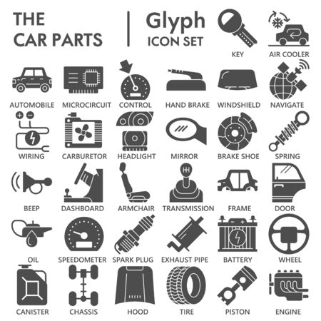 Car parts solid icon set, vehicle repairing symbols collection or sketches. Car inside and outside glyph style signs for web and app. Vector graphics isolated on white background.
