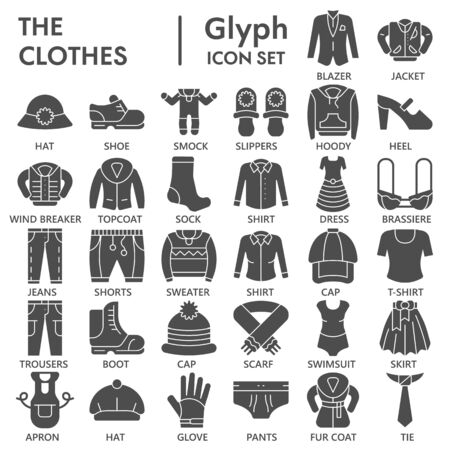 Clothes solid icon set, clothing symbols collection or sketches. Garment and fashion glyph style signs for web and app. Vector graphics isolated on white background. Vectores