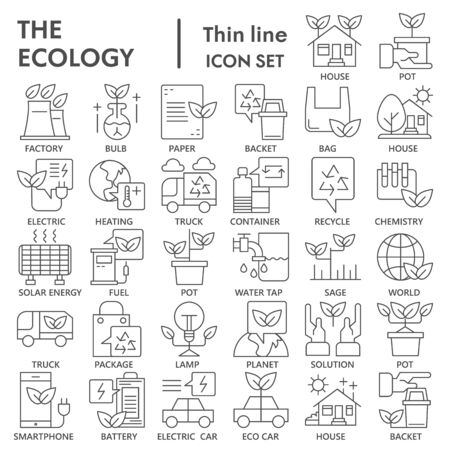 Ecology thin line icon set, green energy symbols collection or sketches. Recycle linear style signs for web and app. Vector graphics isolated on white background.