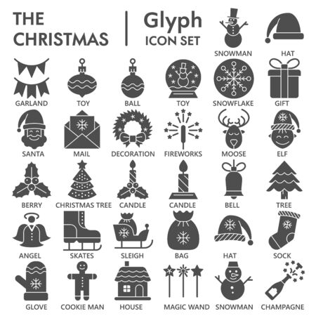 Christmas party celebration solid icon set, Happy New Year symbols collection or sketches. Winter decoration glyph style signs for web and app. Vector graphics isolated on white background.