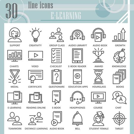 E-learning line icon set, online studying symbols collection or sketches. Education technology linear style signs for web and app. Vector graphics isolated on white background.