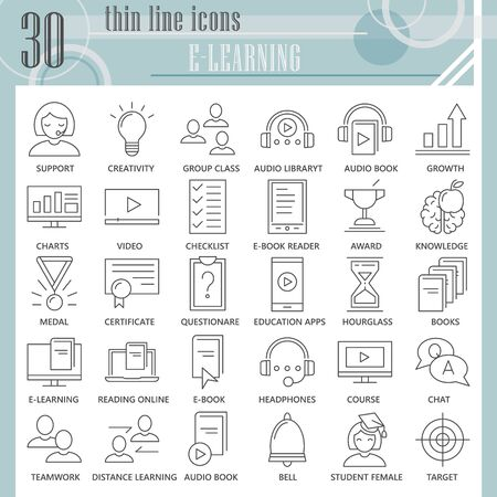 E-learning thin line icon set, online studying symbols collection or sketches. Education technology linear style signs for web and app. Vector graphics isolated on white background.