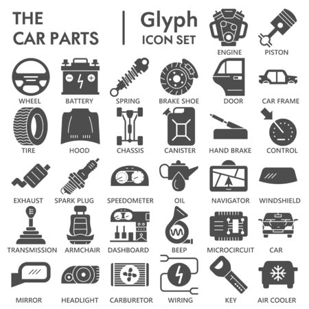 Car parts solid icon set, vehicle part symbols collection or sketches. Car service maintenance glyph style signs for web and app. Vector graphics isolated on white background. Illustration