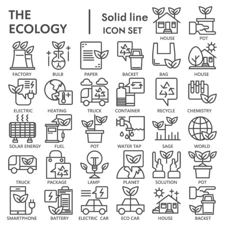 Ecology line icon set, green energy symbols collection or sketches. Recycle linear style signs for web and app. Vector graphics isolated on white background. Иллюстрация