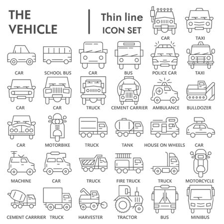 Vehicle thin line icon set, transportation symbols collection or sketches. Truck and car linear style signs for web and app. Vector graphics isolated on white background. Ilustração