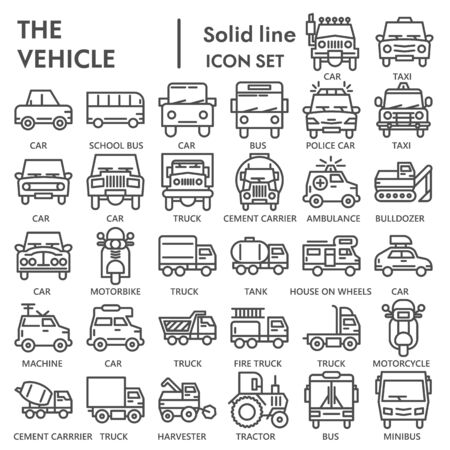 Vehicle line icon set, transportation symbols collection or sketches. Truck and car linear style signs for web and app. Vector graphics isolated on white background.