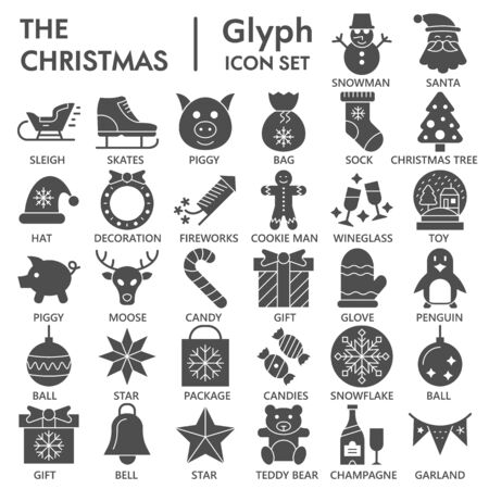 Christmas solid icon set, winter holiday symbols collection or sketches. New Year glyph style signs for web and app. Vector graphics isolated on white background.