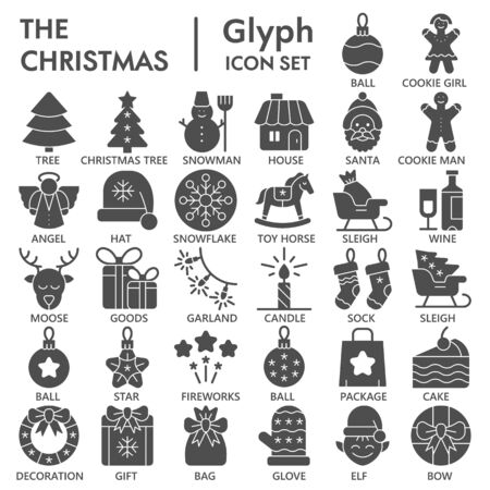 Christmas solid icon set, december holidays symbols collection or sketches. New Year celebration glyph style signs for web and app. Vector graphics isolated on white background.