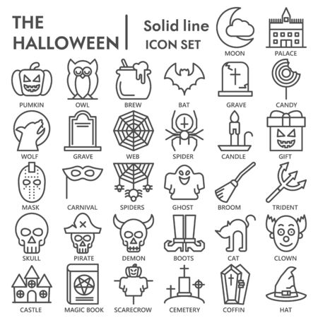 Halloween party line icon set, traditional autumn holiday symbols collection or sketches. Eve of All Saints Day linear style signs for web and app. Vector graphics isolated on white background. Illustration
