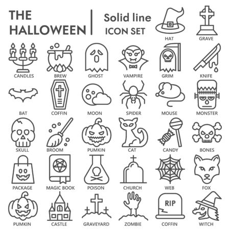 Halloween line icon set, mystery symbols collection or sketches. Halloween party linear style signs for web and app. Vector graphics isolated on white background.