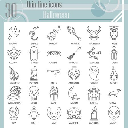 Halloween thin line icon set, Halloween party celebration symbols collection or sketches. Eve of All Saints Day linear style signs for web and app. Vector graphics isolated on white background.