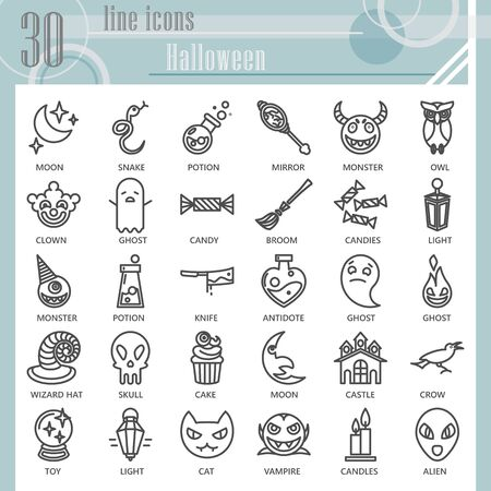 Halloween line icon set, Halloween party celebration symbols collection or sketches. Eve of All Saints Day linear style signs for web and app. Vector graphics isolated on white background. Illustration