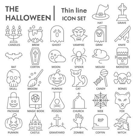 Halloween thin line icon set, mystery symbols collection or sketches. Halloween party linear style signs for web and app. Vector graphics isolated on white background. Illustration