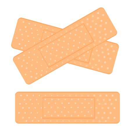 Medical adhesive tape plasters. Vector illustration of medical tape, plaster, protection, care. Adhesive bandage, medical dressing used for injuries. Sticking plasters crossways on white background