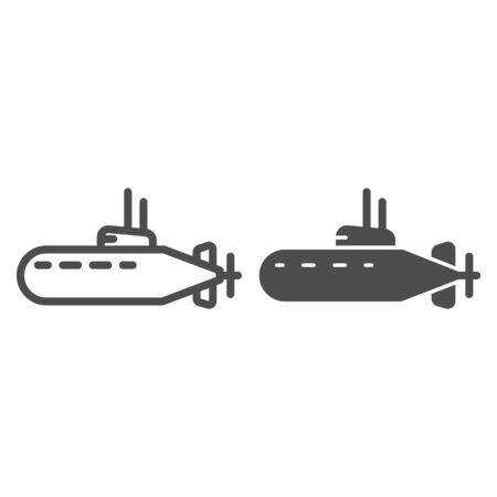 Submarine line and solid icon, nautical concept, underwater boat sign on white background, Submarine with periscope icon in outline style for mobile concept and web design. Vector graphics.