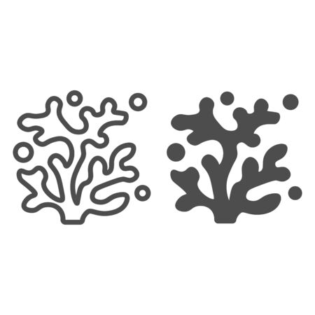 Coral line and solid icon, ocean and underwater concept, Sea underwater plant sign on white background, Coral tree icon in outline style for mobile concept and web design. Vector graphics. Иллюстрация