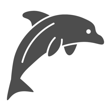 Dolphin solid icon, ocean concept, Dolphin sea animal sign on white background, one jumping dolphin icon in glyph style for mobile concept and web design. Vector graphics.