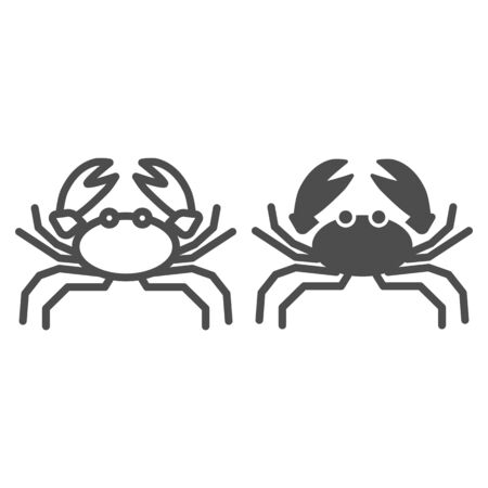 Crab line and solid icon, marine life concept, marine seafood sign on white background, Crab silhouette icon in outline style for mobile concept and web design. Vector graphics. Stock Illustratie